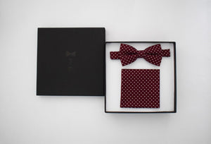 Maroon with Polka Dots Bow Tie & Pocket Square Bow Tie Uppermoda