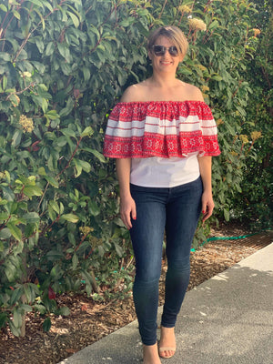 Off The Shoulder Croatian Top with Red Diamonds Pattern - Vis Top Uppermoda