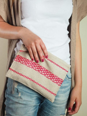 Red Linen Clutch clutch Uppermoda