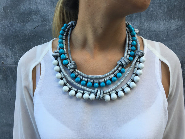 Rope Statement Necklace | Santorini Summer necklace Uppermoda