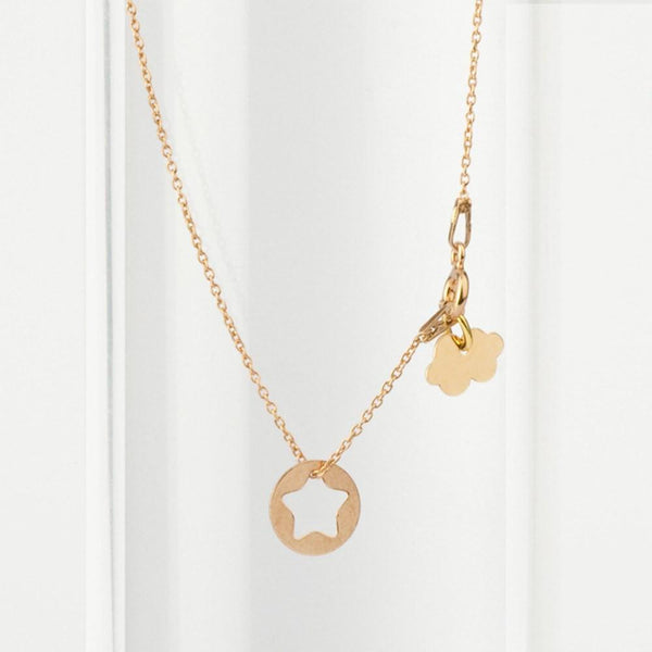 Rose Gold Starfish and Clouds Fine Necklace necklace Uppermoda