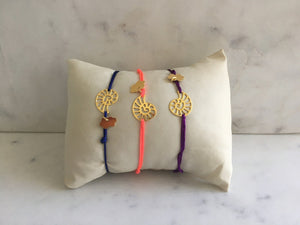 Silk Thread Gold Seashell Bracelet bracelet Uppermoda
