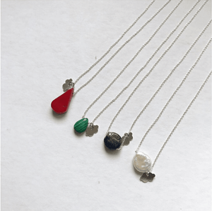 Sterling Silver Fine Necklace with Coral Stone necklace Uppermoda