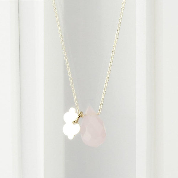 Sterling Silver Fine Necklace with Rose Quartz necklace Uppermoda