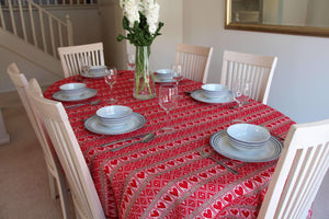 Various Sizes - Red Hearts Croatian Tablecloth (PRE-ORDER) Tablecloths Uppermoda