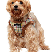 Luxury Fur Lined Brown Tartan Dog Harness