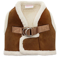Luxury Brown & Cream Shearling Dog harness