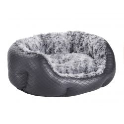 Do Not Disturb Dog Bed Quilted Black Leather Mini