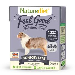 Naturediet Feel Good Senior Lite Turkey & Chicken 18 x 390g Dog Food
