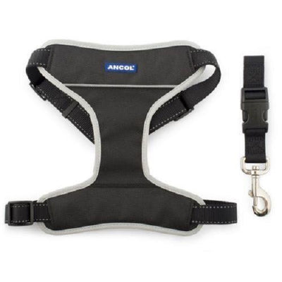 dog car harness black