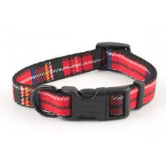 Ancol Adjustable Dog Collar Tartan Red