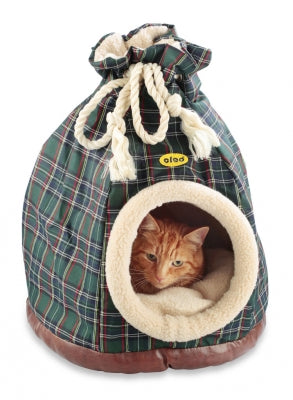 Cat Bed Hooded Igloo Cacoon Duffle Large Blue Tartan