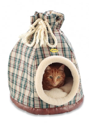 Cat Bed Hooded Igloo Duffle Large Cream Tartan