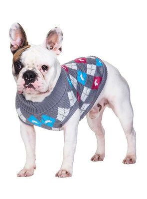 Grey & Pink Argyle Dog Jumper Sweater