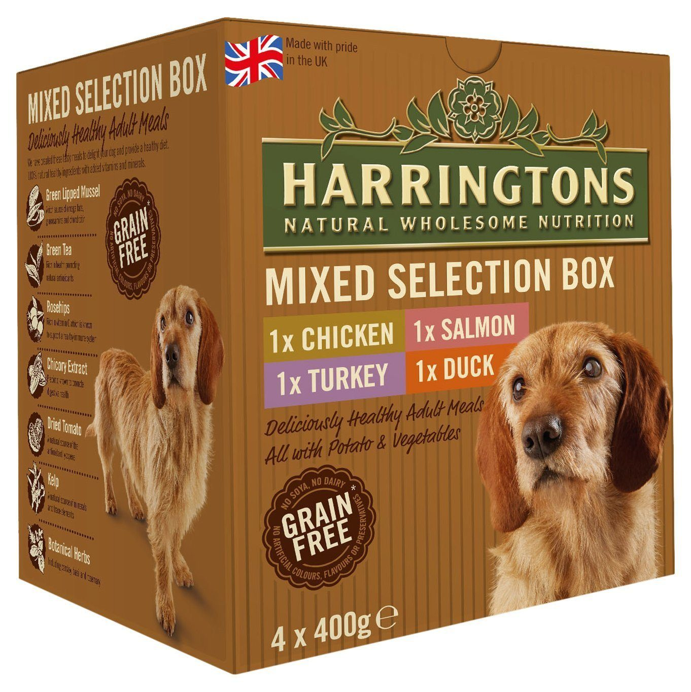 Harringtons Complete Dog Food Mixed Flavours 400g (Pack of 4)
