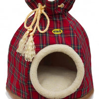 Cat Bed Hooded Igloo Duffle Large Red Tartan
