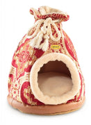 Cat Bed Hooded Igloo Duffle Large Regal Red & Gold