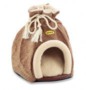 Cat Bed Hooded Igloo Small Brown Diamond