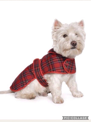 Ancol Muddy Paws Highland Tartan Dog Coat Jacket Red