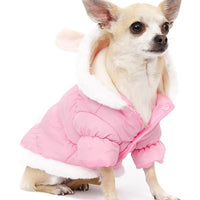 Pink Quilted Dog Coat with Hood and Ears