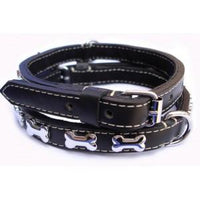 Puchi Bad to the Bone Leather Dog Collar