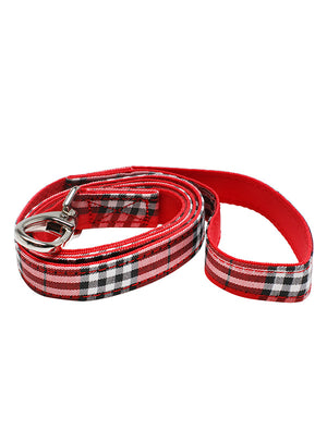 Red Checked Tartan Fabric Dog Lead