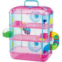 Lazy Bones Hamster Cage 3 Storey Pink and Blue