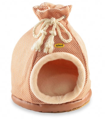 Cat Bed Hooded Igloo Duffle Large Orange & Gold Check