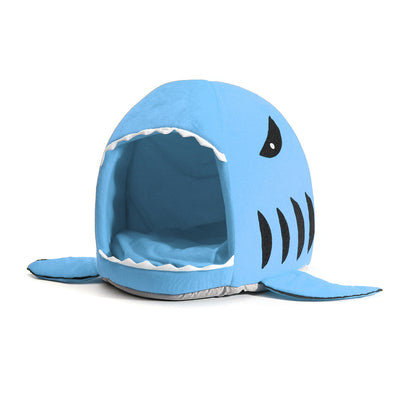 Blue Medium Shark Soft Pet Dog Cat Puppy Kitten Bed