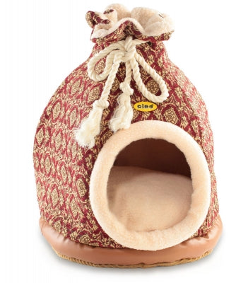Cat Bed Hooded Igloo Duffle Large Red Tapestry
