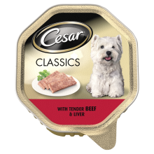 Cesar Alu Classic Tender Beef & Liver Dog Food 150g x 14