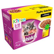Whiskas 2-12 Months Kitten Pouches Poultry Selection in Gravy 12 x 100g