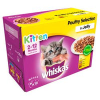 Whiskas 2-12 Months Kitten Pouches Poultry Selection in Jelly 12 x 100g