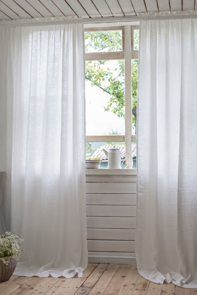 Linen curtains with rod pocket and decorative crown