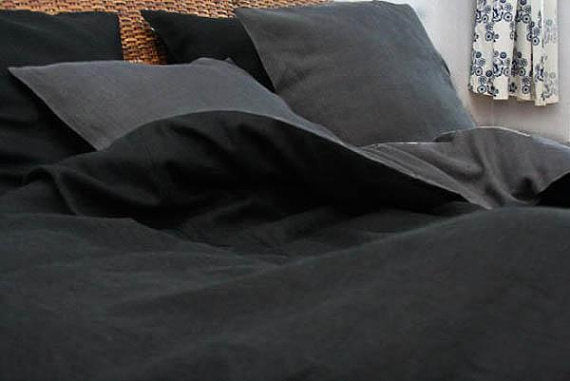 Black and Charcoal Gray Linen Bedding Set