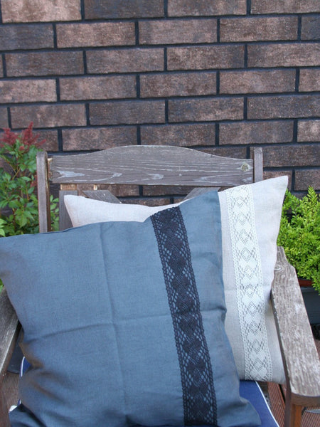 Gray Linen Pillow Cover with Lace