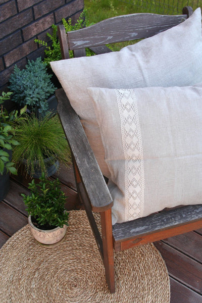 Linen Pillow cover decorated with Linen Lace