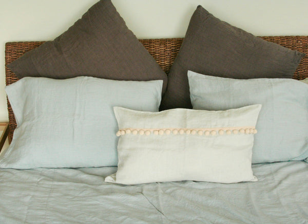 Decorative Linen Pillow with Pom Poms