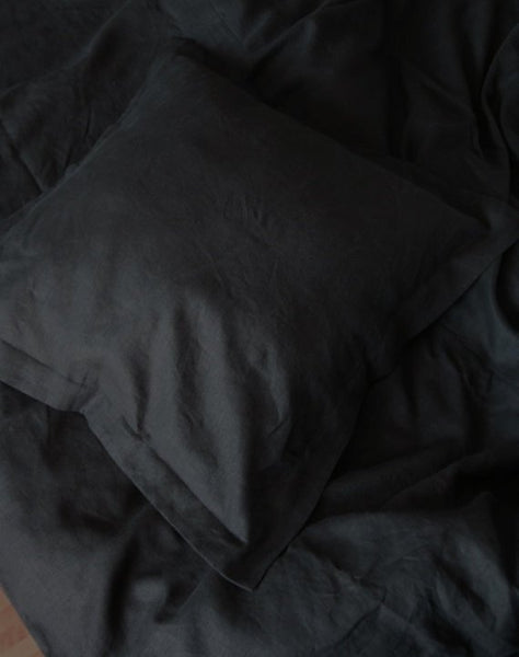 Black Linen Pillowcase with Flange