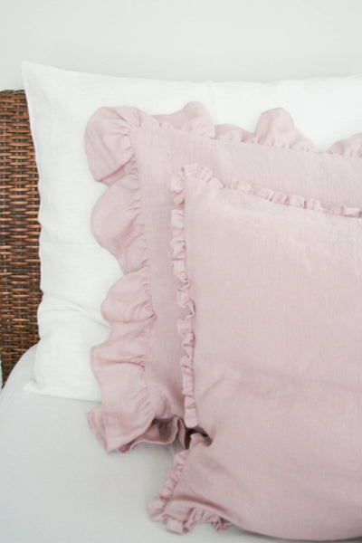 Linen Pillow Case with Wide Ruffles