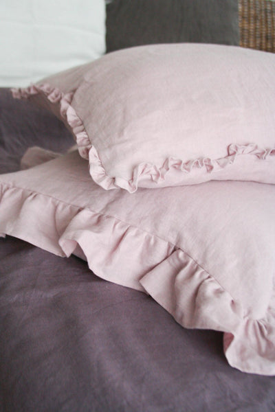 Pastel Pink Linen Pillow Cover with Small Ruffles