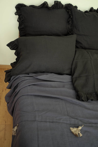 Black Linen Shams with Ruffles