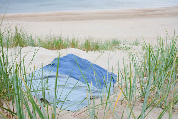 Linen Beach Blanket in Blue