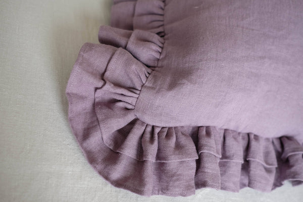 Linen Pillow Cover with Ruffles