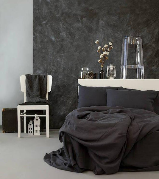 Linen Duvet Cover in Charcoal Gray