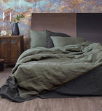 Linen Duvet Cover in Moss Green