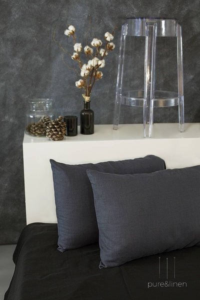 Dark Gray Linen Pillow Case