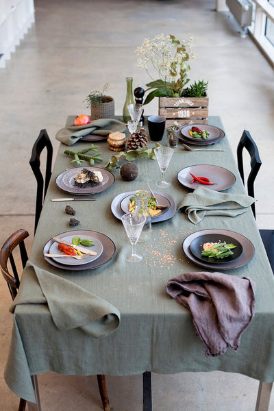 Moss Green Linen Tablecloth