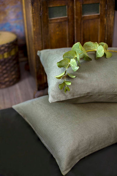 Moss Green Linen Pillowcase