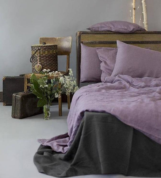 Linen Duvet Cover in Lavender Color